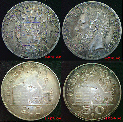 BELGIUM Silver Coins 1800 onward  Choice of coins