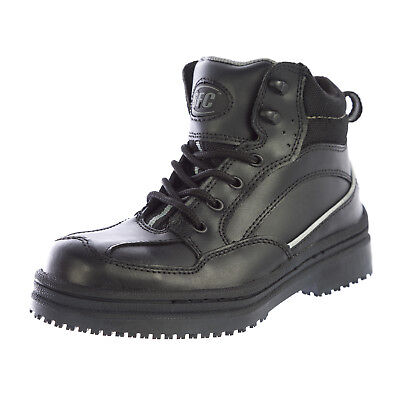 SFC Shoes for Crews Men's Neo Black Leather Boots 5255 $59 NEW