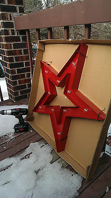 Huge RED STAR Antique Replica METAL Lighted TEXACO gas style pump bar room cave