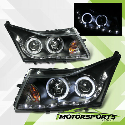 2011 2012 2013 2014 2015 2016 Chevy Cruze Black LED Halo Projector Headlights