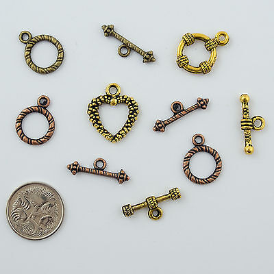 Toggle sets (5) Gold and Copper Mix  Metal Jewellery Making  Connectors Findings