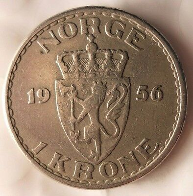 1956 NORWAY KRONE - Excellent Vintage Coin - FREE SHIPPING - Norway Bin #1