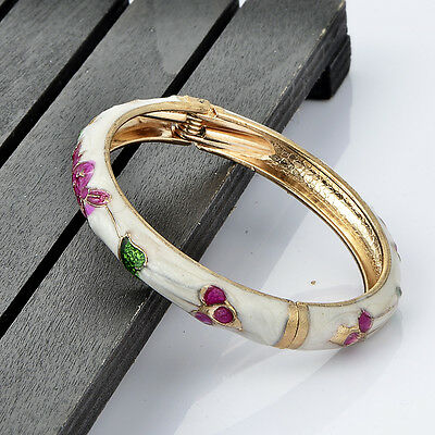 baby bracelet flower rabbit leaf 18k yellow gold filled enamel children jewelry