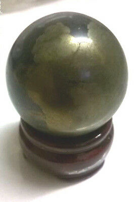 IRON PYRITE Sphere 268g 45mm diameter with wooden patina stand