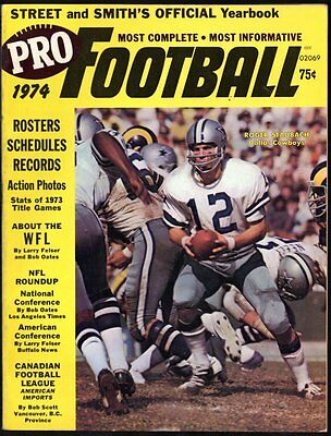 Street And Smith's Official Yearbook Pro Football 1974 Nfl Wfl Cfl