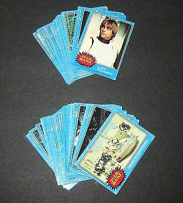 1977 Vintage Topps Star Wars 1st Series 1 Complete 66 Blue Trading Card Set EX+