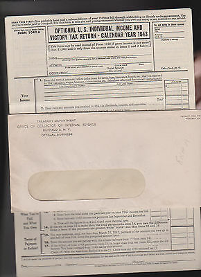Optional US Individual Income & Victory Tax Return 1943 IRS Form 1040A