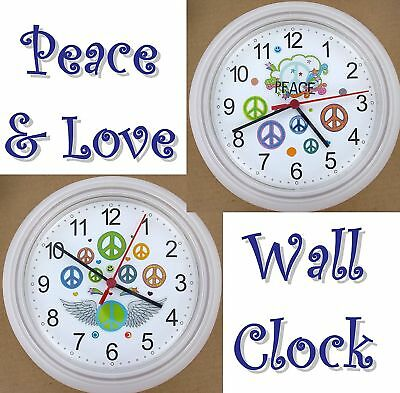 PEACE & LOVE WALL CLOCK 60's Mod Psychedelic Hearts Sixties Luv Hippie Love NEW