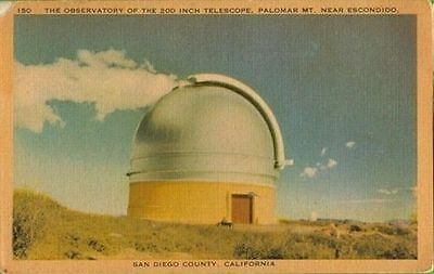 PALOMAR OBSERVATORY, 1930s POST CARD (PRE-OPERATIONAL