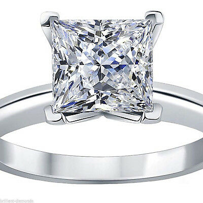 1.5CT Princess Diamond Simulant Solitaire Engagement Wedding Ring 14k White Gold