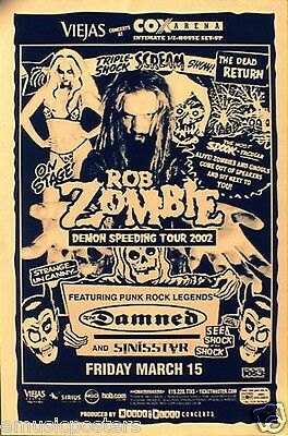 "Rob Zombie / The Damned San Diego ""demon Speeding Tour 2002"" Concert Poster"