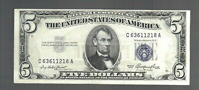 $5 1953 FIVE DOLLARS Bill Blue USA SILVER Certificate Note OLD Vintage Currency