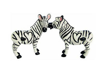 New MWAH KISS Salt & Pepper Shakers Set ZEBRA Figurine Statue HORSE WILD PONY
