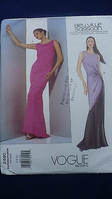 Vogue sewing pattern Bellville Sassoon 2480 average formal dress size 6-10