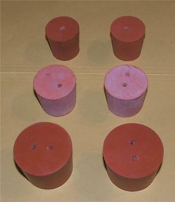 Rubber Stopper 23mm 2-Hole Red Bung Laboratory for Test Tubes Lab Science Plug