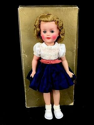 "Vintage 1958 Ideal Shirley Temple Vinyl Doll 15"" Red White Blue Taffeta With Box"