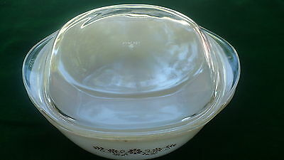 Dyna ware pyr o rey covered casserole dish 1.5 litre brown flower square pyrorey