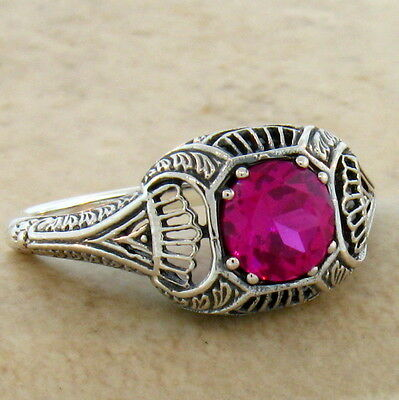 Lab Ruby Antique Art Deco Design 925 Sterling Silver Ring Size 8,#296