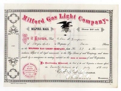 Milford Gas Light Company Stock Certificate