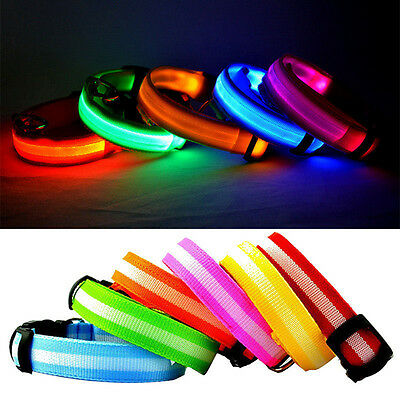 Nylon LED Flashing Luminous Pet Dog Puppy Collar Night Adjustable Safety Light
