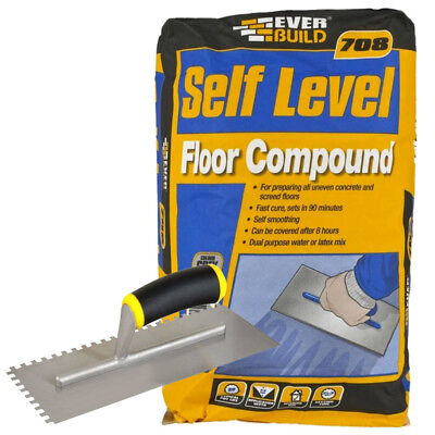 Everbuild 708 Self Levelling Floor Compound 20kg Grey with Free QEP Trowel