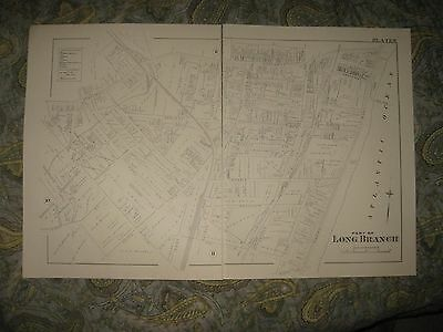 Antique 1886 1986 Long Branch Monmouth County New Jersey Map Detailed Superb Nr