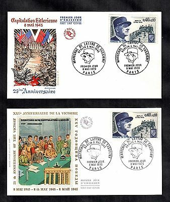 2 French Covers 1970 25TH Anniversary End of World War II Berlin Army Military