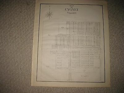 Antique 1912 Cygnet Wood County Ohio Map Detailed With Land Owners Detailed Nr