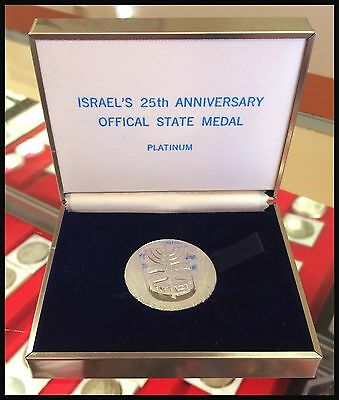 Israel 25th Anniversary Official State Platinum Medal -- FREE SHIPPING!!