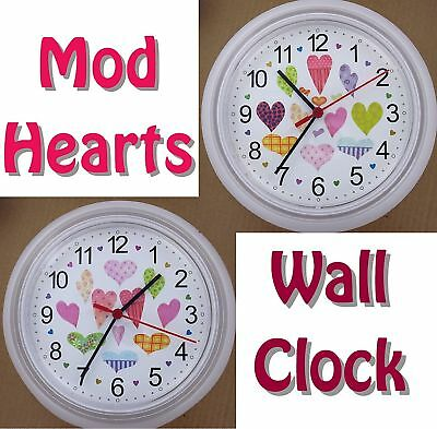 MOD HEARTS WALL CLOCK Heart Collector 60's Pink Red Valentine Love NEW