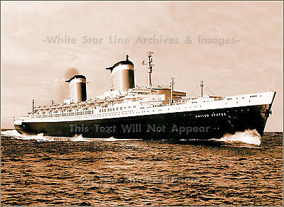 Photo: Sepia Tone: SS United States 'Super Ship' Rips Up English Channel, 1952