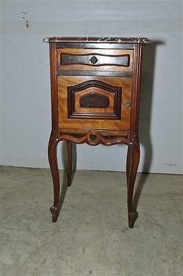 Antique French Night Stand, Marble Top Walnut 1920s