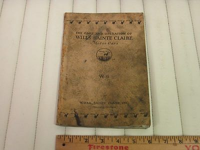 1925 1926 1927 WILLS SAINTE CLAIRE Car Owners Instruction Manual