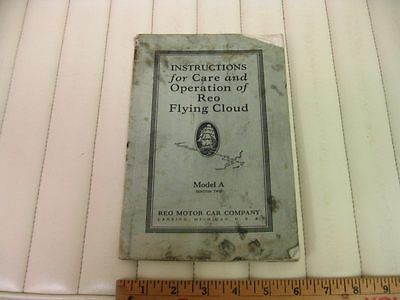 1928 REO Flying Cloud Instruction Owners Manual 2nd Ed