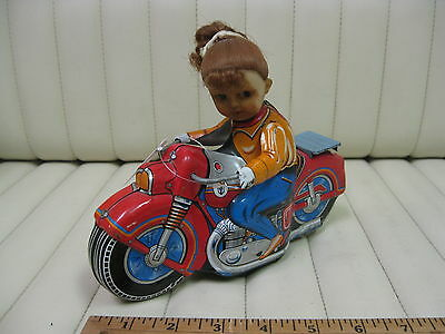 1960s Girl Cycle Tin Friction Motorcycle Toy by Haji Japan