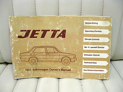 1981 Volkswagen VW Jetta  Car Owners Instruction Book Glove Box Manual