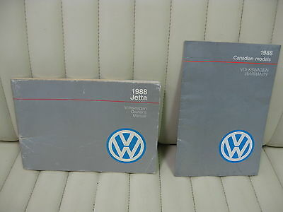 1988 Volkswagen VW Jetta  Car Owners Instruction Book Glove Box Manual
