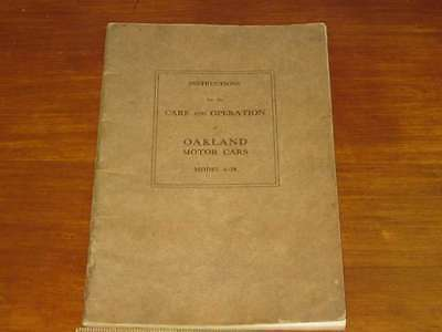 1924 Oakland Model 6-54 Owner's Manual 1st Edition