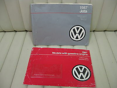 1987 Volkswagen VW Jetta  Car Owners Instruction Book Glove Box Manual