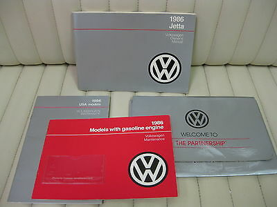 1986 Volkswagen VW Jetta  Car Owners Instruction Book Glove Box Manual