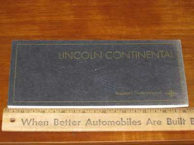 1968 Lincoln Continental Registered Owner's Manual