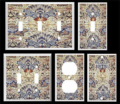 Vintage Blue And Brown Floral  Light Switch Cover Plate     U Pick Size