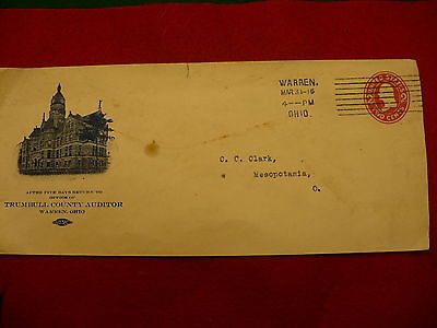 1916 cancellation Trumbull county Auditor Warren Ohio envelope P37