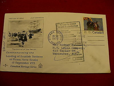 Heritage series 1973 Pictou NS  Cover FDC Scott 619 return to sender P40
