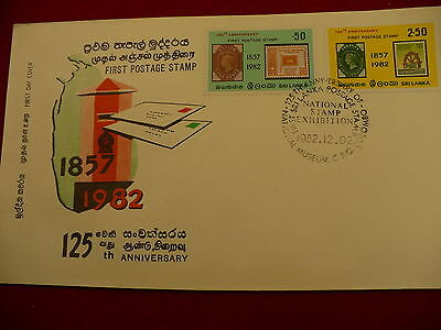 National Stamp Exhibition Sri Lanka First Day Cover FDC 125 anniversary 1982 P49
