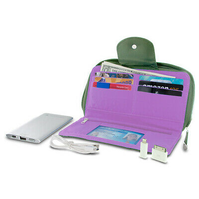 Travelon RFID Blocking Clutch Wallet w/ 5000mAh Power Bank Battery Charger Olive