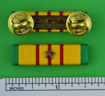 VIETNAM SERVICE MEDAL Mounted RIBBON BAR with 1 Bronze Campaign / Battle Star