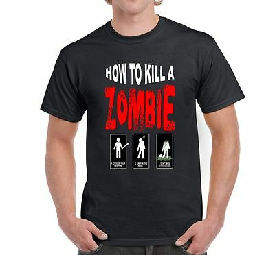 ALM786t-Mens Funny Walking Dead Style tshirts-How To Kill a Zombie T Shirt