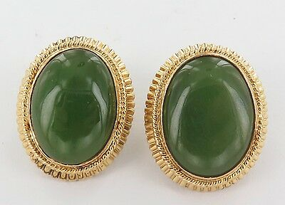 .stunning / Large 14Ct Gold & Jade Clip On Earring Set, Val $5730, Weighs 18.25G