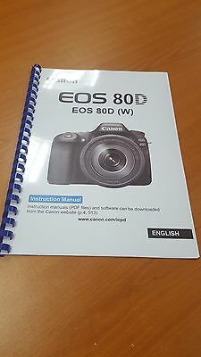 Canon Eos 80D Full User Manual Guide Instructions Printed 526 Pages A5